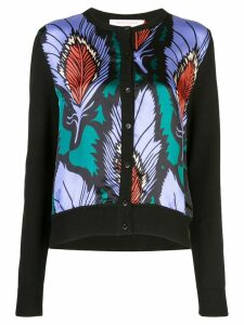Carolina Herrera feather printed panel cardigan - Black