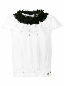 Cavalli Class ruffled neck blouse - White