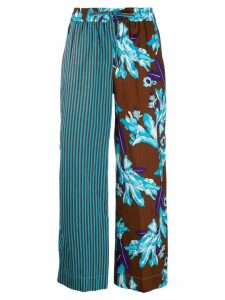 P.A.R.O.S.H. contrast panelled palazzo trousers - Blue