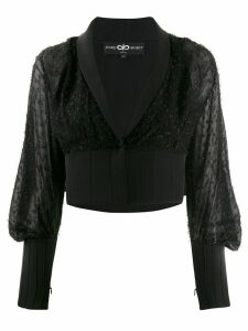 Avaro Figlio embellished sheer crop blouse - Black