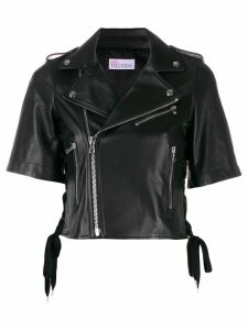 RedValentino embroidered leather jacket - Black