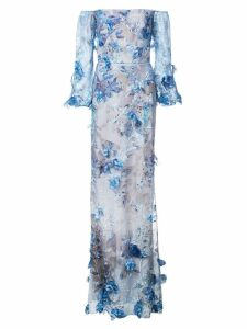 Marchesa Notte floral embroidered gown - Blue
