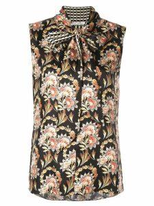Oscar de la Renta floral print bow tie blouse - Black