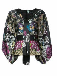 Josie Natori kimono sleeve belted top - Black