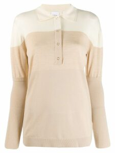 Burberry two-tone polo shirt - NEUTRALS