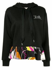 Emilio Pucci ruffle hem hoodie - Black