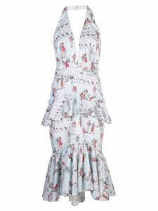 Patbo printed peplum halter dress - Blue