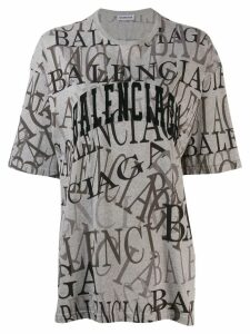 Balenciaga all over logo T-shirt - Grey