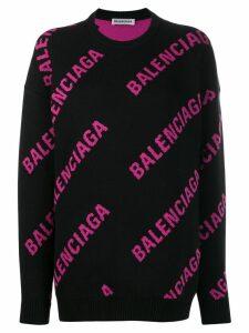 Balenciaga logo crew neck sweatshirt - Black
