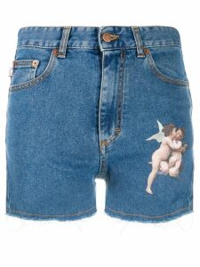 Fiorucci Kissing Angels denim shorts - Blue