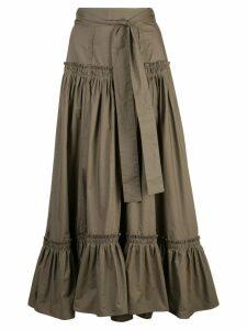 Proenza Schouler Tiered Cotton Long Skirt - Green
