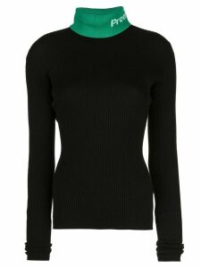 Proenza Schouler PSWL Logo Knit Long SleeveTurtleneck Top - Black