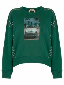 Nº21 snap studded photographic sweatshirt - Green