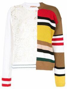 Nº21 contrast asymmetric lace striped jumper - Multicolour