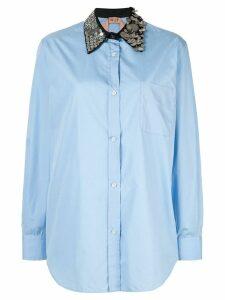 Nº21 sequin collar button-up shirt - Blue