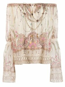 Camilla off shoulder printed blouse - NEUTRALS