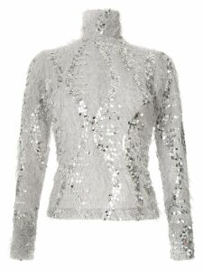 Gloria Coelho sequinned fuzzy blouse - Silver
