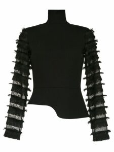 Gloria Coelho fringed long sleeved top - Black