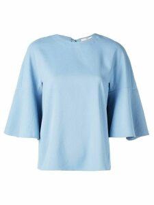 Tibi Chalky drape ruffle sleeve top - Blue