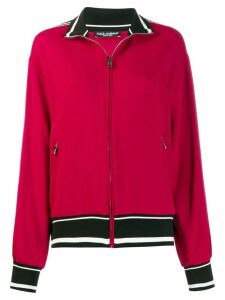Dolce & Gabbana slogan detail zipped cardigan - Red