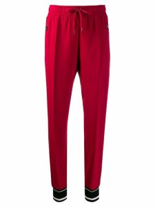 Dolce & Gabbana appliqué striped track pants - Red