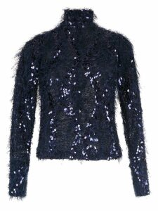 Gloria Coelho fuzzy embroidered sweater - Blue