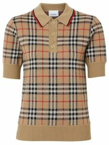 Burberry Vintage Check Merino Wool Polo Shirt - NEUTRALS