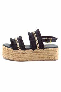 Kaanas Goa Frayed Platform Shoe in Black - US10 Black