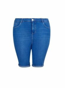 Womens Dp Curve Blue Denim Knee Shorts, Blue