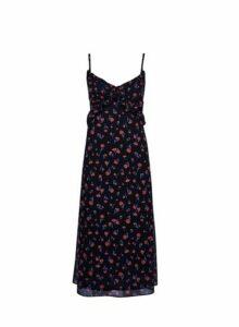 Womens Black Floral Print Chiffon Midi Dress, Black