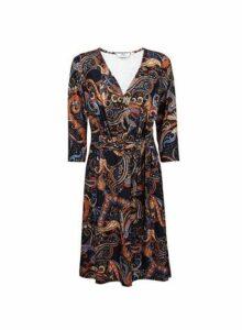 Womens **Tall Multi Coloured Paisley Print Wrap Dress - Orange, Orange