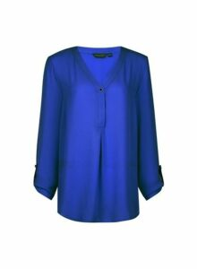 Womens **Tall Cobalt Roll Sleeve Top, Cobalt