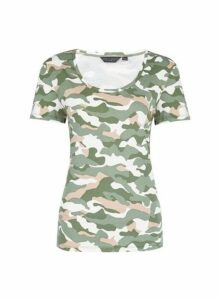 Womens Trees For Cities Khaki Camouflage Print Scoop T-Shirt, Khaki