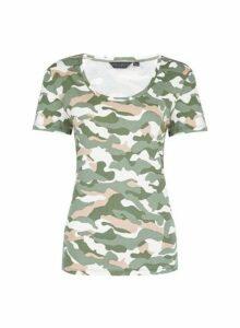 Womens Organic Cotton Trees For Cities Khaki Camouflage Print Scoop T-Shirt, Khaki