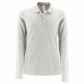 Sols  WomensLadies Perfect Long Sleeve Pique Polo Shirt  women's Polo shirt in Grey