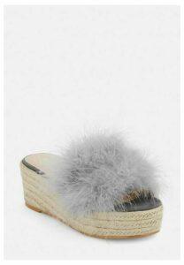Grey Feather Flatform Jute Sole Sandals, Grey