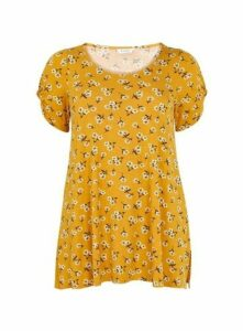 Yellow Floral Print T-Shirt, Yellow