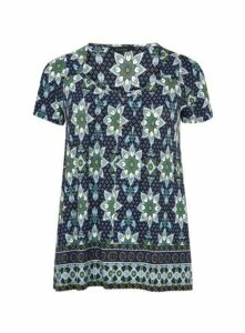 Navy Blue Paisley Print Top, Bright Multi