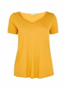 Yellow V-Neck Short Sleeve T-Shirt, Yellow