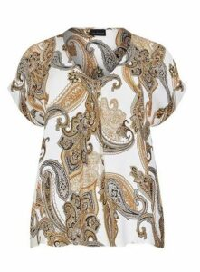 **Live Unlimited Multi Colour Paisley Print V-Neck T-Shirt, Ivory