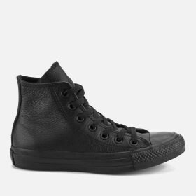 Converse Chuck Taylor All Star Leather Hi-Top Trainers - Black Monochrome - UK 11