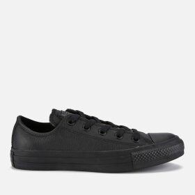 Converse Chuck Taylor All Star Ox Leather Trainers - Black Monochrome - UK 5