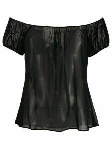 Chanel Pre-Owned 2001's off-the-shoulders sheer blouse - Black