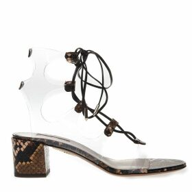 Aquazzura Pvc & Snake Printed Leather Sandals