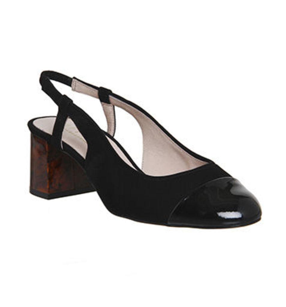 Office Maddie Slingback Toe Cap Block Heels BLACK SUEDE PATENT TOE CAP