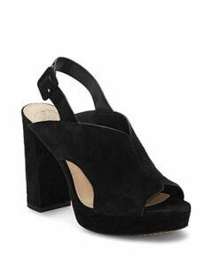 Vince Camuto Women's Jeangel Suede Block-Heel Mules