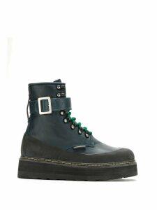À La Garçonne leather combat boots - Blue