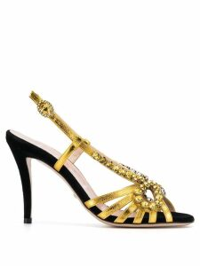 Gucci crystal-embroidery metallic sandals - Gold