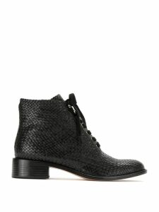 Sarah Chofakian textured leather boots - Black