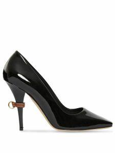 Burberry D-ring Detail Patent Leather Square-toe Pumps - Black